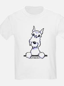 White Schnazuer Paws Up T-Shirt