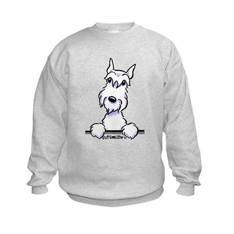 White Schnazuer Paws Up Kids Sweatshirt