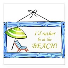 """At the Beach Square Car Magnet 3"""" x 3"""""""