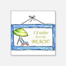 "At the Beach Square Sticker 3"" x 3"""
