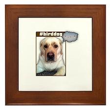 Lab dog twittering Framed Tile