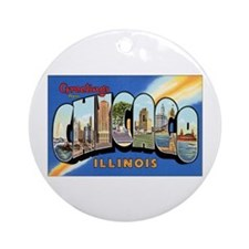 Chicago Illinois Greetings Ornament (Round)