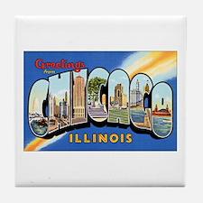 Chicago Illinois Greetings Tile Coaster