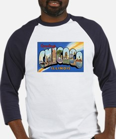Chicago Illinois Greetings (Front) Baseball Jersey