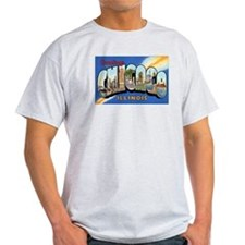 Chicago Illinois Greetings (Front) Ash Grey T-Shir