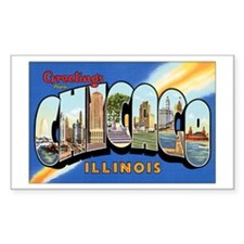 Chicago Illinois Greetings Rectangle Decal