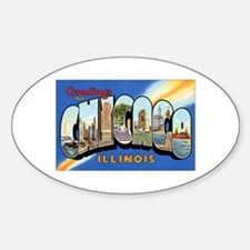 Chicago Illinois Greetings Oval Decal
