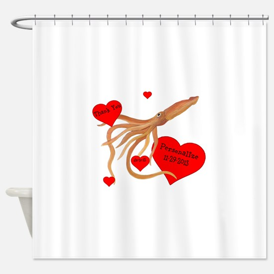 Personalized Squid Shower Curtain