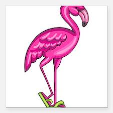 "Flamingo Square Car Magnet 3"" x 3"""