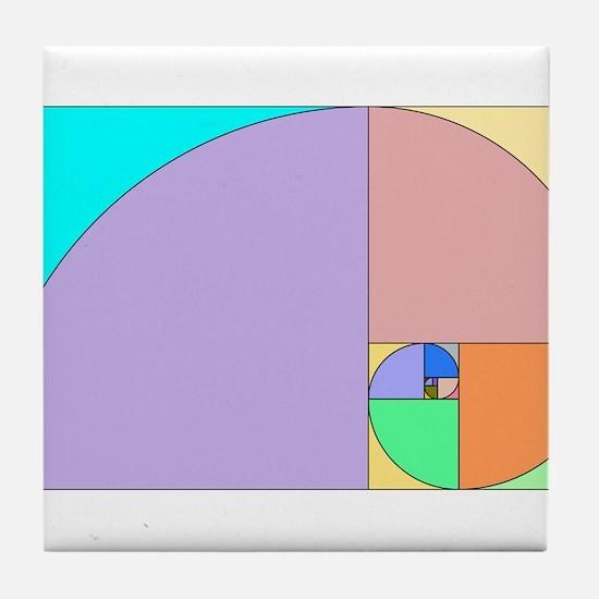 Golden Ratio spiral Tile Coaster
