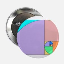 "Golden Ratio spiral 2.25"" Button"