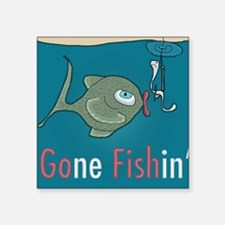 "Funny Fishing Square Sticker 3"" x 3"""
