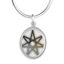 Bear Pride Fairy Star Silver Oval Necklace