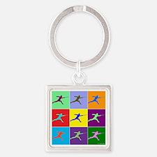 Pop Art Lunge Square Keychain