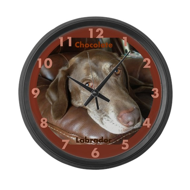 Chocolate Lab Face Large Wall Clock By Fauxpawgrafixinstagram1