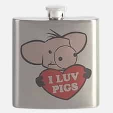 I Love Pigs Flask