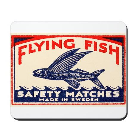 Antique Flying Fish Swedish Matchbox Label Red Mou