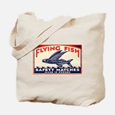Antique Flying Fish Swedish Matchbox Label Red Tot