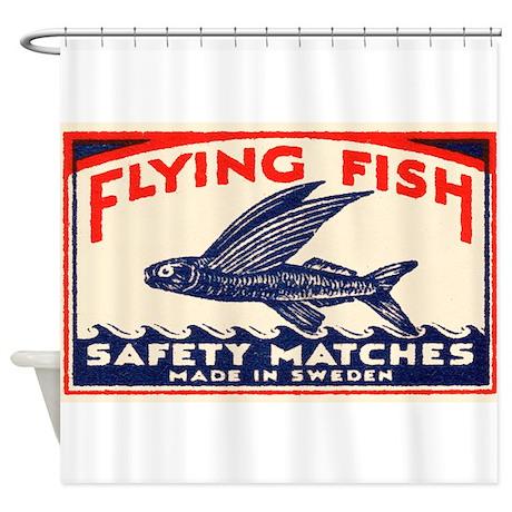 Antique Flying Fish Swedish Matchbox Label Red Sho