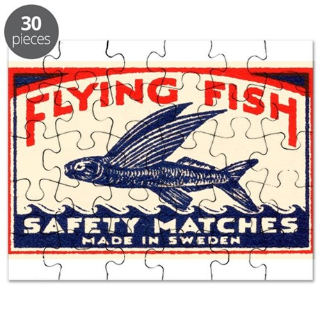 Antique Flying Fish Swedish Matchbox Label Red Puz