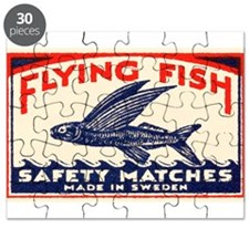 Antique Flying Fish Swedish Matchbox Label Red Puz