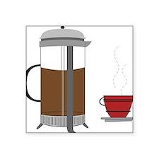 """Coffee Press Square Sticker 3"""" x 3"""""""