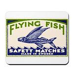 Antique Flying Fish Swedish Matchbox Label Green M