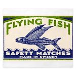 Antique Flying Fish Swedish Matchbox Label Green K