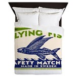 Antique Flying Fish Swedish Matchbox Label Green Q