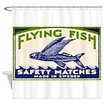 Antique Flying Fish Swedish Matchbox Label Green S