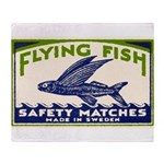 Antique Flying Fish Swedish Matchbox Label Green