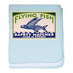 Antique Flying Fish Swedish Matchbox Label Green b