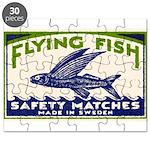 Antique Flying Fish Swedish Matchbox Label Green P