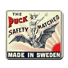 Puck Riding Bat Swedish Matchbox Label Mousepad