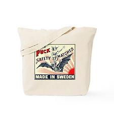Puck Riding Bat Swedish Matchbox Label Tote Bag