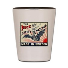 Puck Riding Bat Swedish Matchbox Label Shot Glass