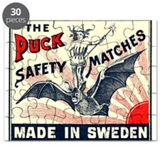 Puck Riding Bat Swedish Matchbox Label Puzzle