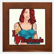 I Love Redheads and tattoos Framed Tile