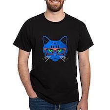 Hipster Cat Neon Blue T-Shirt