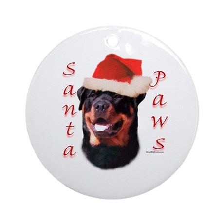 Santa Paws Rottweiler Ornament (Round)