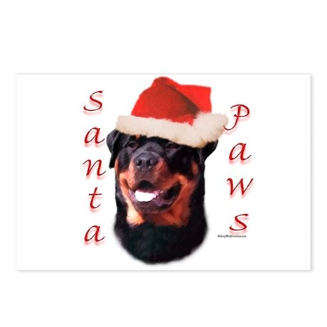 Santa Paws Rottweiler Postcards (Package of 8)