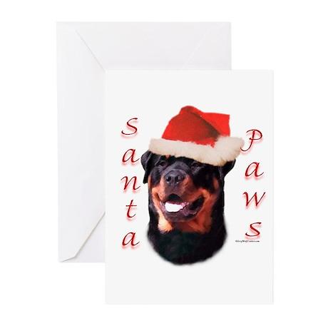 Santa Paws Rottweiler Greeting Cards (Pk of 10