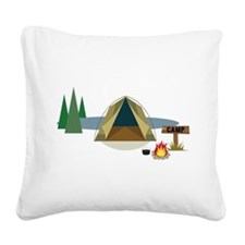 Camping Square Canvas Pillow