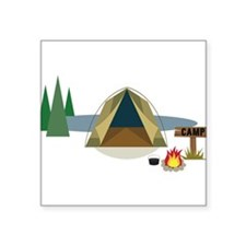 "Camping Square Sticker 3"" x 3"""