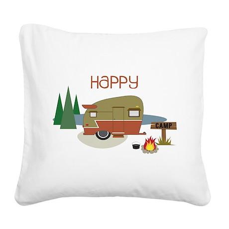 Happy Camper Square Canvas Pillow