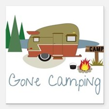 "Gone Camping Square Car Magnet 3"" x 3"""