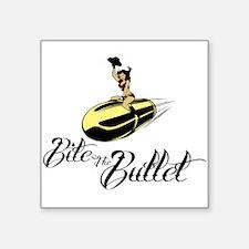 "Bite the Bullet - Cowgirl Square Sticker 3"" x 3"""