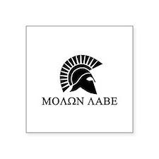 """Molon Labe Warrior Square Sticker 3"""" x 3"""""""