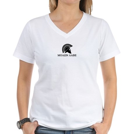 Molon Labe Warrior Women's V-Neck T-Shirt