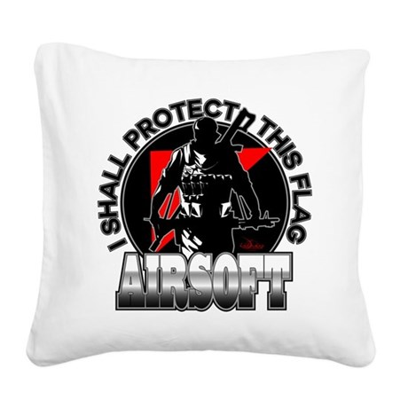 Protect Flag Airsoft Square Canvas Pillow